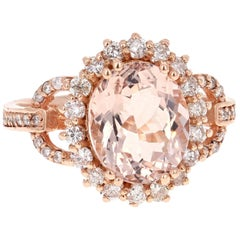 3.99 Carat Oval Cut Morganite Diamond Rose Gold Engagement Ring