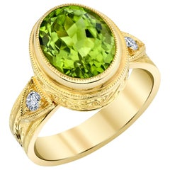 3.99 Carat Peridot, Diamond Handmade Yellow Gold Engraved Bezel Signet Band Ring