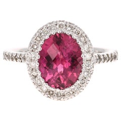 3.99 Carat Pink Tourmaline Diamond 14 Karat White Gold Ring