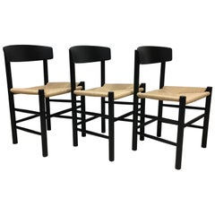3Børge Mogensen 'Folkestole' Dining Chairs J39 Black Lacquer with New Paper Cord