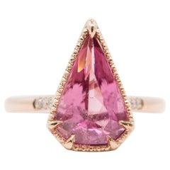 3ct Shield Shape Pink Tourmaline Diamond Sides 14K Rose Gold Engagement Ring