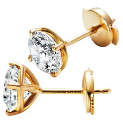 3ct Solitaire Traceable Diamond Ear Studs in 18k Yellow Gold by Rocks For Life