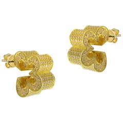 3D Blossom Pave Earrings