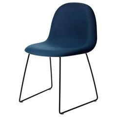 3D Dining Chair, Front Upholstered, Sledge base, Matte Black
