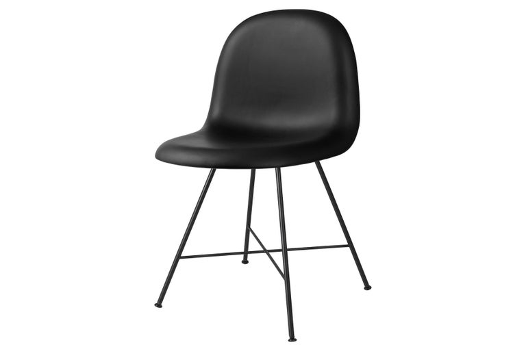Powder-Coated 3D Dining Chair, Fully Upholstered, Center Base For Sale