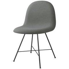 3D Dining Chair, Fully Upholstered, Center Base, Matte Black