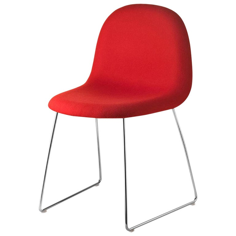 3D Dining Chair, Fully Upholstered, Sledge Base, Chrome For Sale