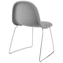 3D Dining Chair, Fully Upholstered, Sledge base, Stackable, Chrome