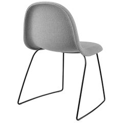 3D Dining Chair, Fully Upholstered, Sledge base, Stackable, Matte Black