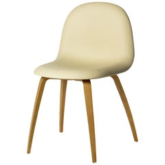 3D Dining Chair, Fully Upholstered, Wood Base, Natural Oak