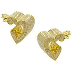 3D Heart Pave Earrings