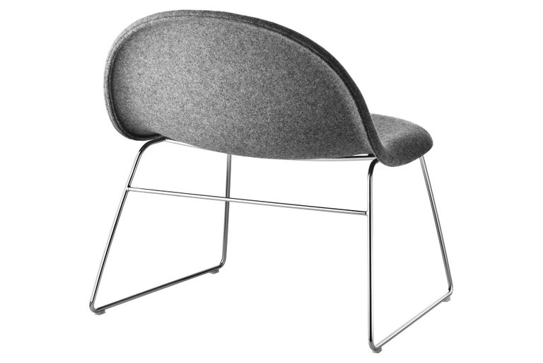 Danish 3D Lounge Chair, Un-Upholstered, Sledge Base, Chrome For Sale