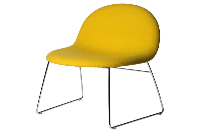Polychromed 3D Lounge Chair, Un-Upholstered, Sledge Base, Chrome For Sale