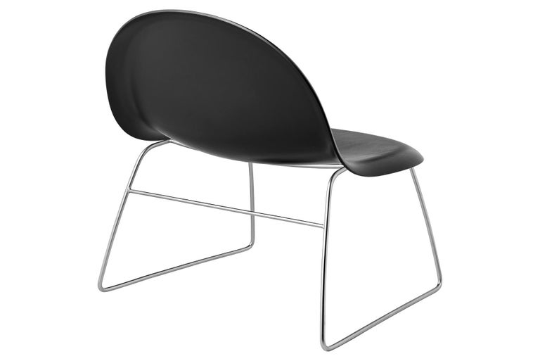 Steel 3D Lounge Chair, Un-Upholstered, Sledge Base, Chrome For Sale