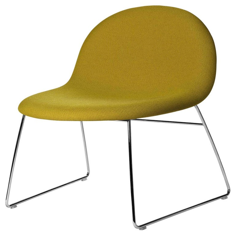3D Lounge Chair, Un-Upholstered, Sledge Base, Chrome For Sale