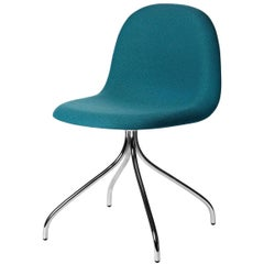 3D Meeting Chair, Front Upholstered, Chrome Swivel Base