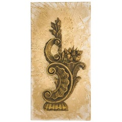 3D Powdered Canvas with an 18th Century Italian Fragment and Gold Leaf Shells