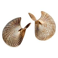 14 Karat Yellow Gold.. Stud Large Earrings, Statement Jewelry,