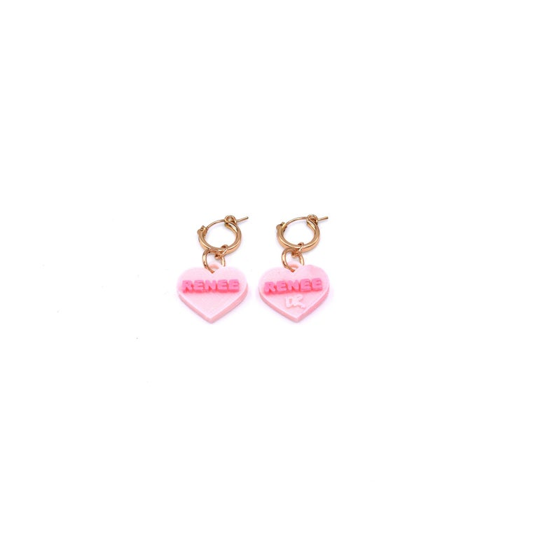 These custom Sweetheart Earrings are 3d printed and attached to gold filled hoops. Choose the color, and enter your custom text! Hearts measure 3/4