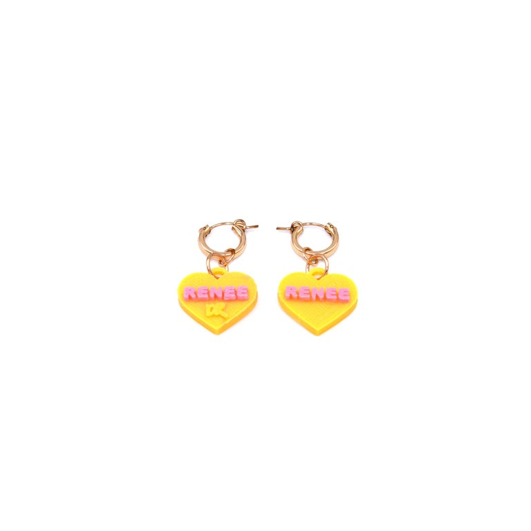 Contemporary 3d Printed Custom Sweetheart Earrings For Sale