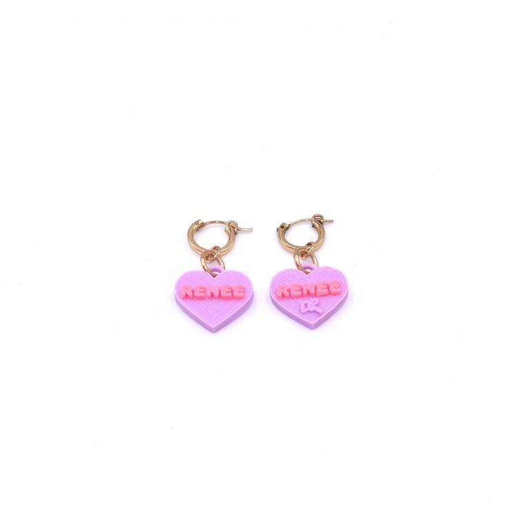 3d Printed Custom Sweetheart Earrings In New Condition For Sale In Norwalk, CT