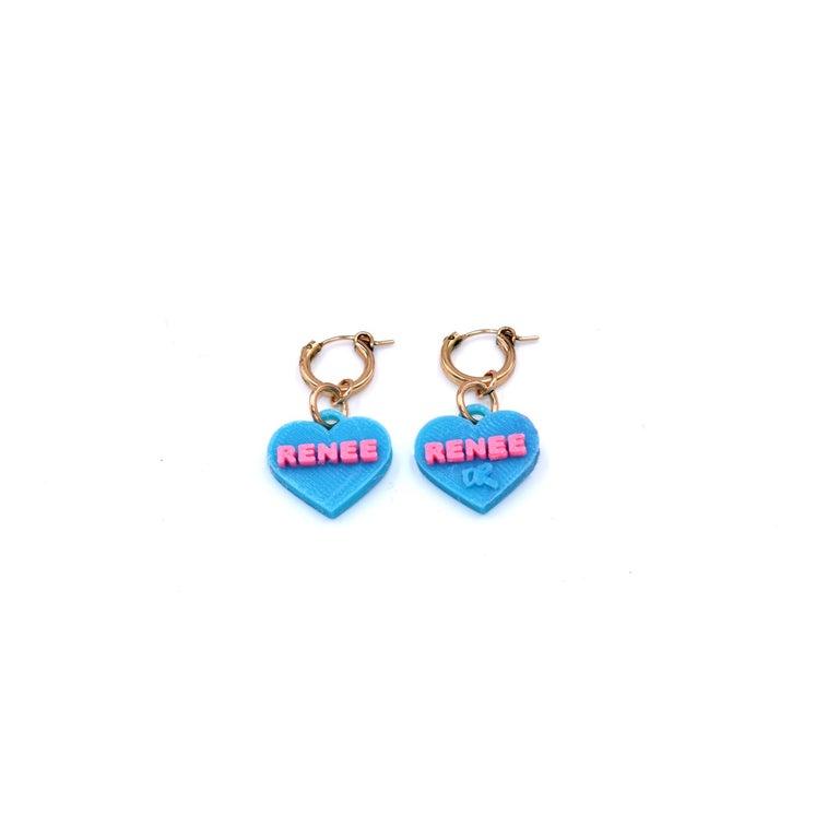 Women's 3d Printed Custom Sweetheart Earrings For Sale
