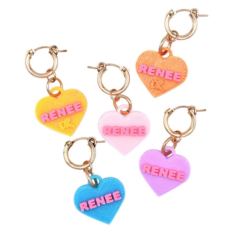 3d Printed Custom Sweetheart Earrings For Sale