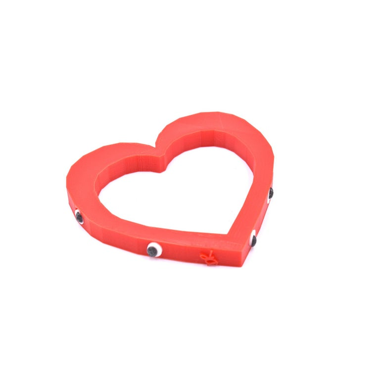 3d Printed Foolish Heart Bangle Red In New Condition For Sale In Norwalk, CT