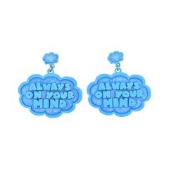 3d Printed I Know Speech Bubble Earrings Blue