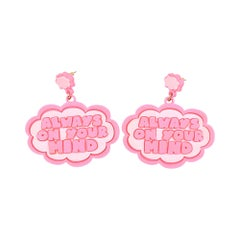 3d Printed I KNOW Speech Bubble Earrings Pink
