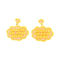 3d Printed I Know Speech Bubble Earrings Yellow