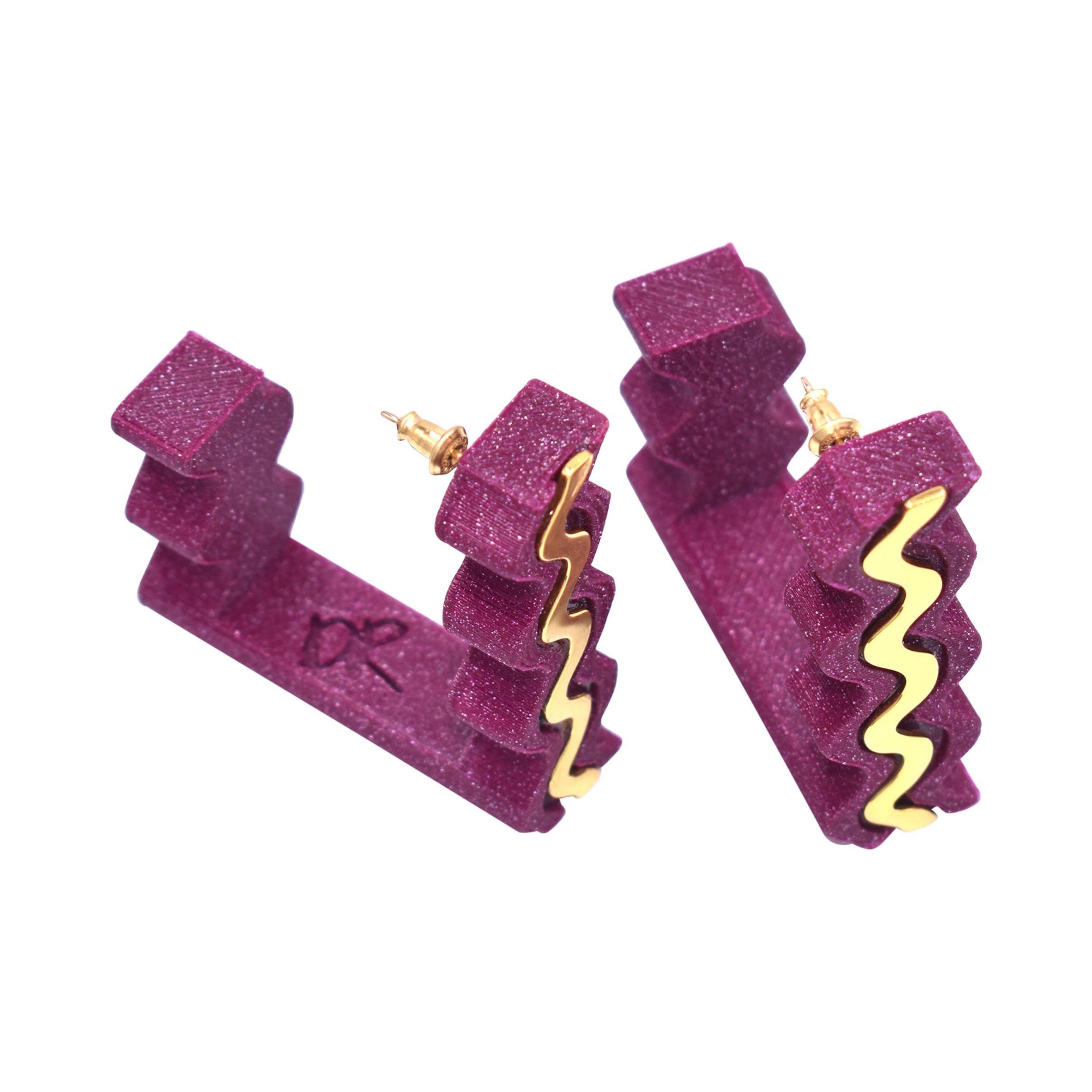 3d Printed Mirage Hoop Earrings Magenta