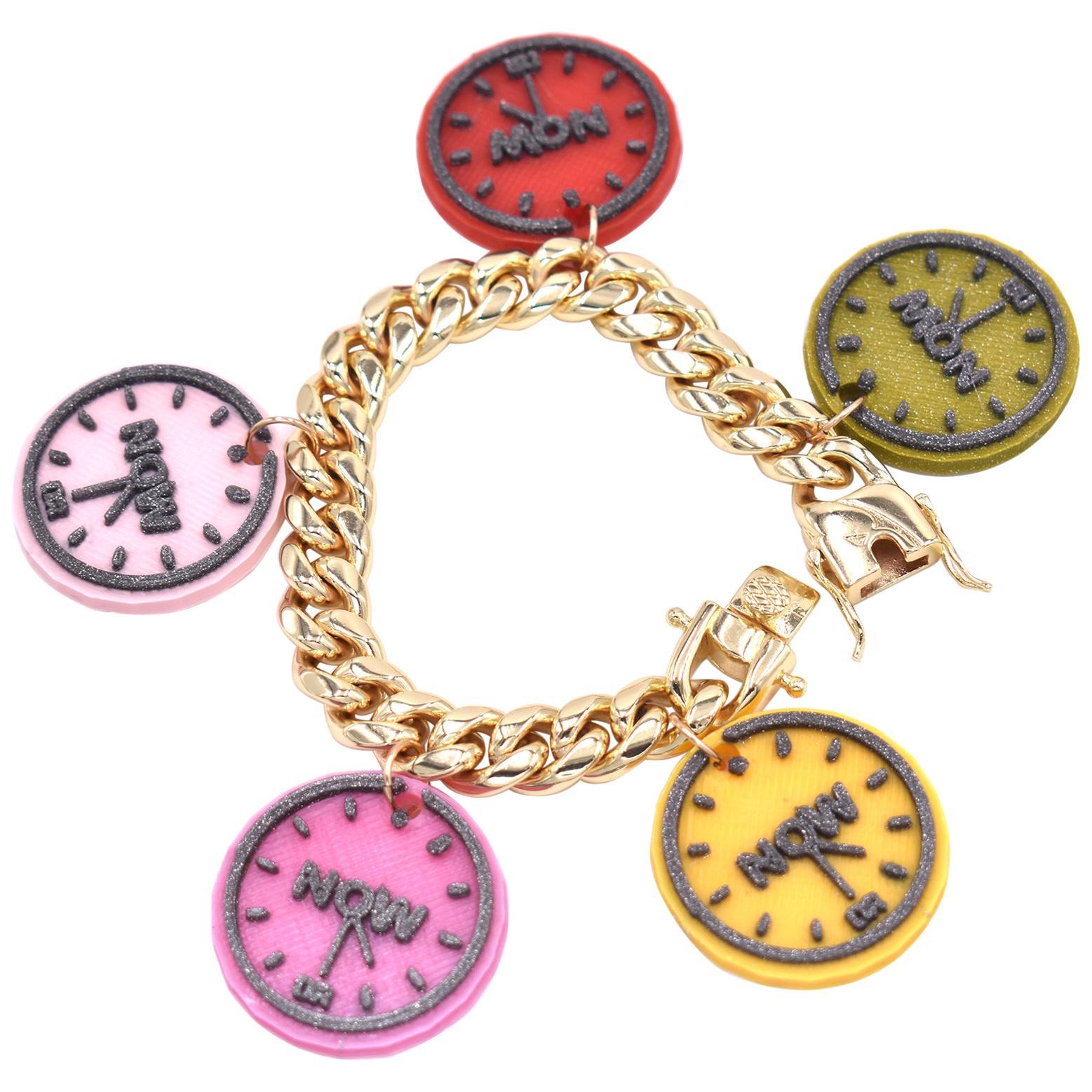 3d Printed NOW Watch Charm Bracelet