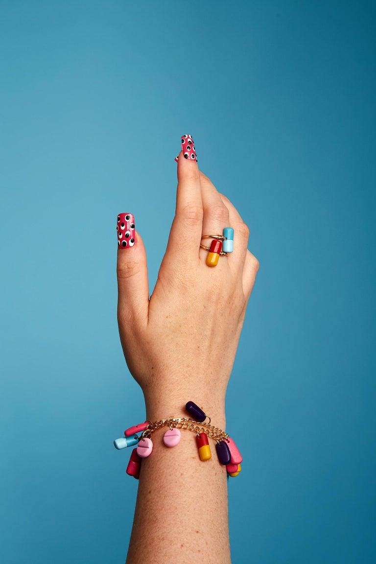Women's 3d Printed Painkiller Pill Charm Bracelet For Sale