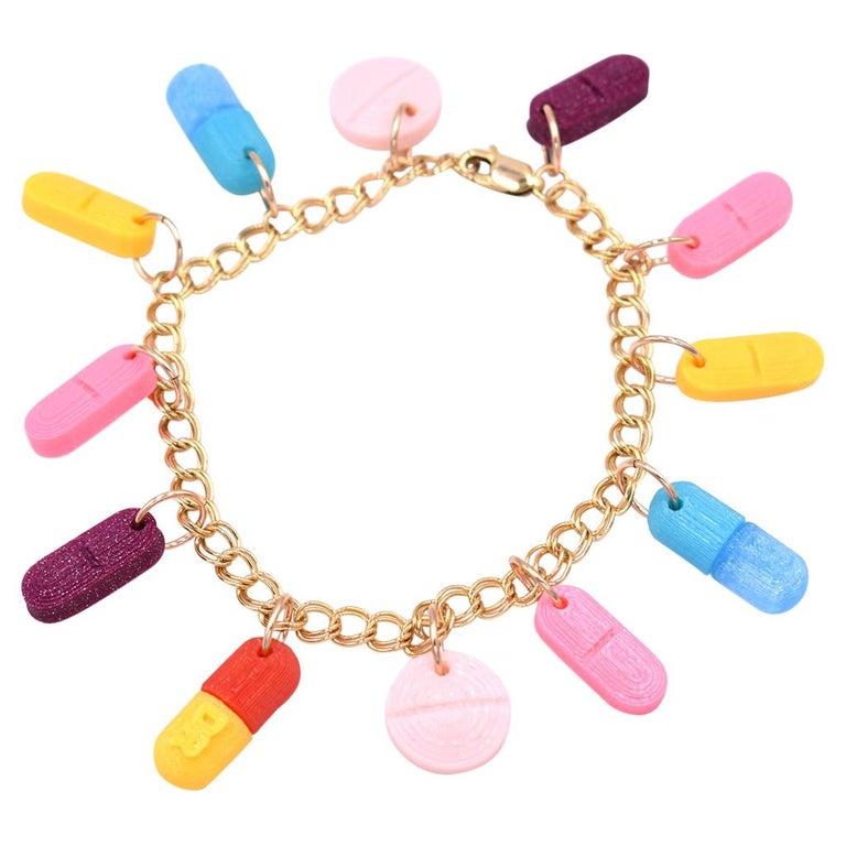 3d Printed Painkiller Pill Charm Bracelet For Sale