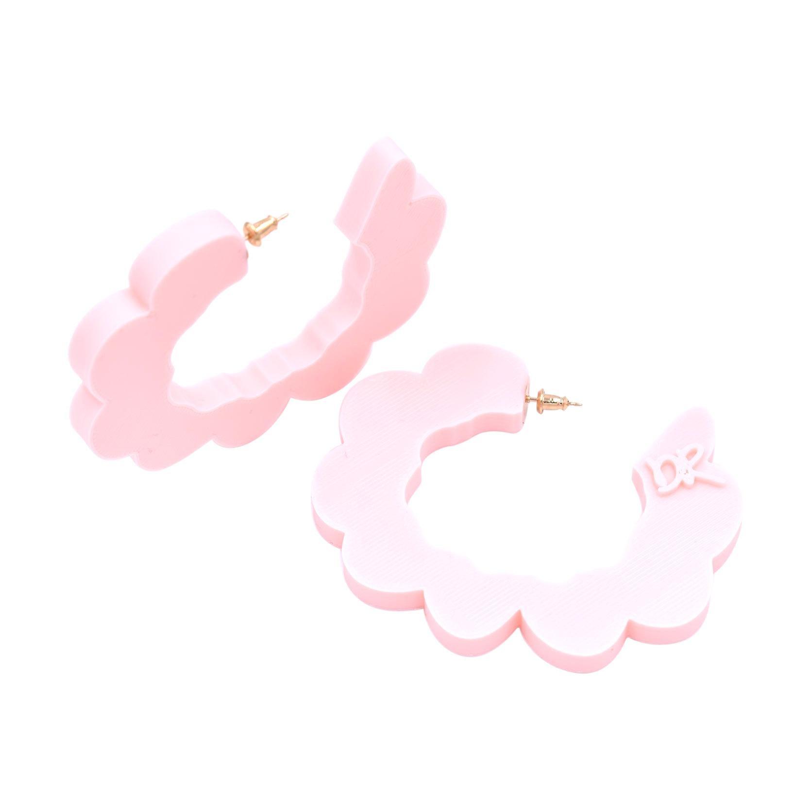 3d Printed Pretend Cloud Hoop Earrings Baby Pink