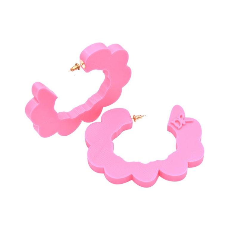 3d Printed Pretend Cloud Hoop Earrings Hot Pink For Sale