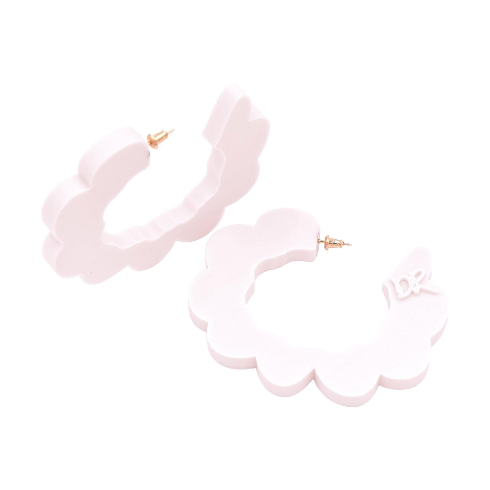 3d Printed Pretend Cloud Hoop Earrings Ivory