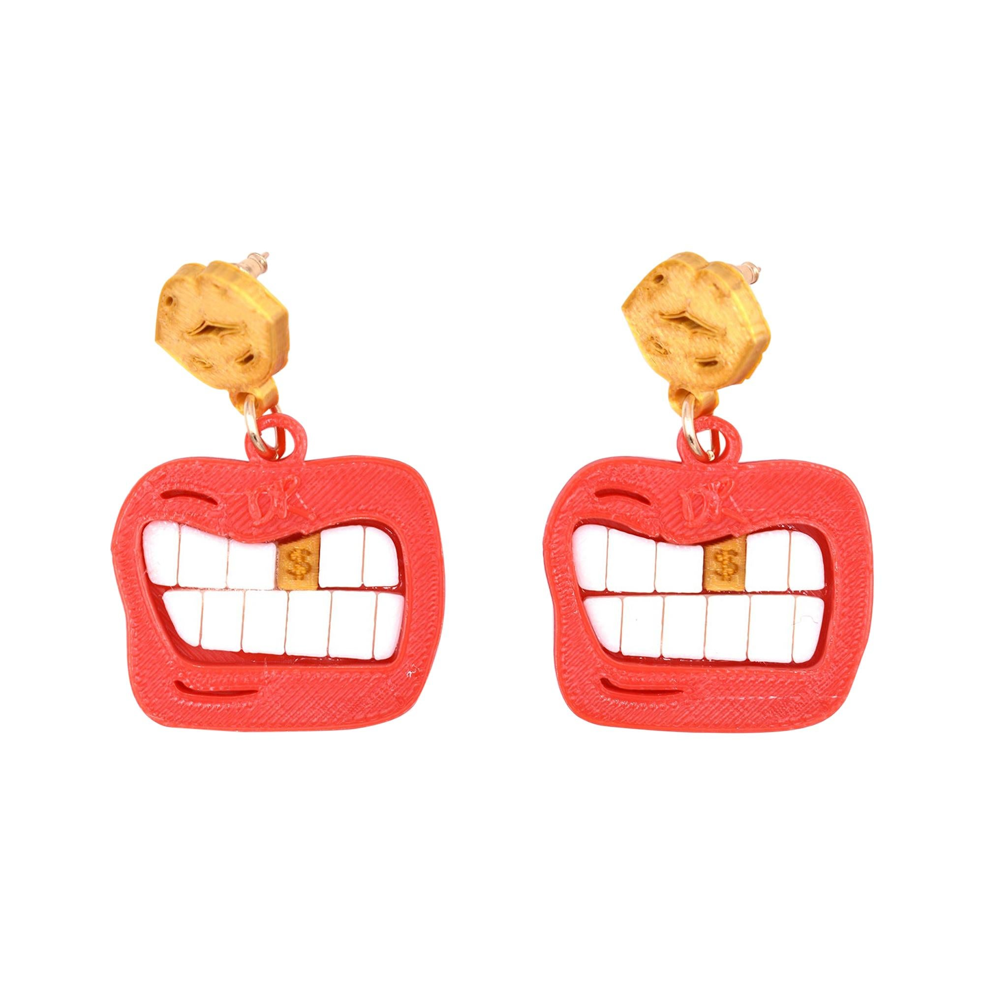 3d Printed Red Money Mouth Earrings