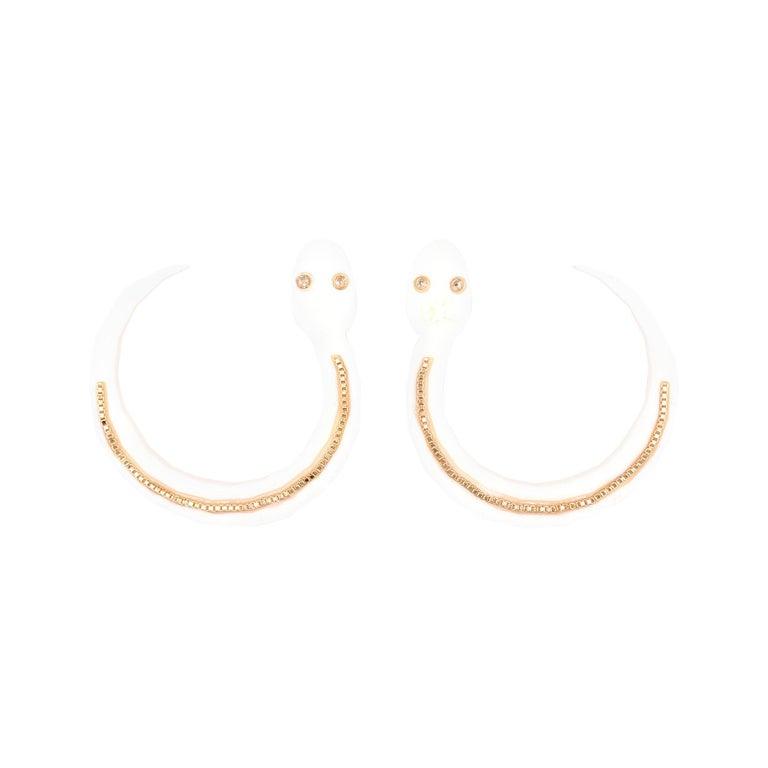3d Printed Snake Hoop Earrings Ivory For Sale