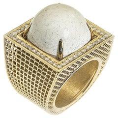 14 Karat Yellow Gold, Statement Unique Contemporary Ring, White Agate, Diamonds.