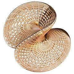 14 Karat 3D Printed Twisted Disc Large Pendant, Unique Statement Pendant,
