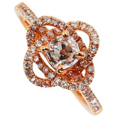 3D Rose Flower with Old Mine Cut Diamond Ring, 18 Karat Rose Gold