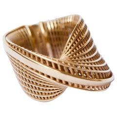 14 Karat  Wide Mobius Ring, Twisted Ring, 3D Printed, Luxury Ring.