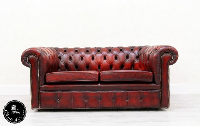 3-Seat, 2-Seat Chesterfield Sofa Leather Antique Couch English Real Leather