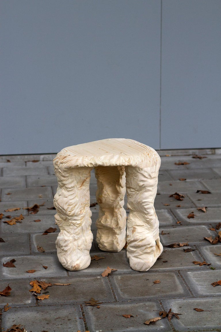 3 Legs Stool, Carved Wooden Stool In New Condition For Sale In Eindhoven, NL