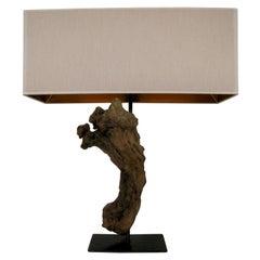 3M Design Lamp, Modern, Driftwood, Iron Stand, Natural, Origin Spain, Salvage