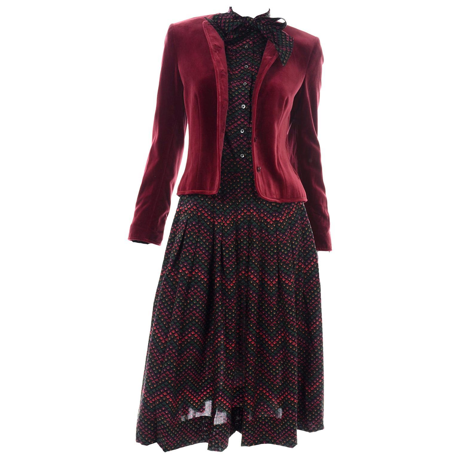 3pc Jaeger Burgundy Velvet Jacket w/  Printed Wool Blouse Top With & Skirt Suit