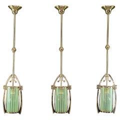 3x Jugendstil Pendant with Original Opaline Glass Shades, Vienna, Around 1910s