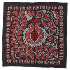 3x3 Ft Vintage Tashkent Embroidered Cotton and Silk Wall Hanging